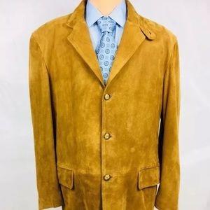 Brioni Leather 42L Jacket Tan Functional Cuff